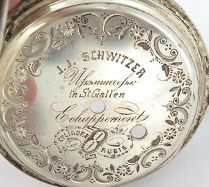 .ANTIQUE HUGE GOLIATH LIKE .800 SILVER J J SCHWITZER FARM THEME POCKETWATCH CASE