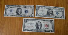 LOTTO 3 BANCONOTE 1 2 5  DOLLARI DOLLAR 1934 1953 1957 UNITED STATES OF AMERICA