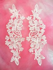 "Embroidered Lace Appliques White Floral Venice Lace Mirror Pair 10"" (Dh87)"