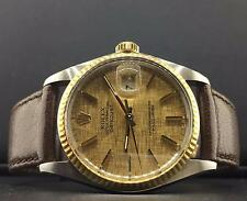 VINTAGE Rolex Datejust 36mm 2 Tone 18k Yellow Gold & Steel service Papers 16013