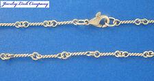 "14K Solid White Gold Handmade Dogbone Chain 7.6grams 3mm 18"" LG"