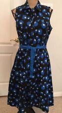 NWT Oscar De La Renta Sleeveless Black/Blue Floral Dress - Size 10