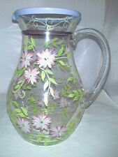Floral Glass Pitcher Applied Handle Purple White Flowers Hand Blown Handpainted