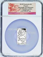 2019 Dragon 1oz PROOF Silver Rectangular $1 COIN NGC PF 70 FR Lunar Label