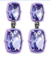 NIB $299 Atelier Swarovski Rosie Assoulin Drop Pierced Earrings Purple 5298756