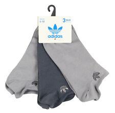 ADIDAS Women's No Show 3-Pack Socks Adult One Size (5-10) Dark Gray Light gray