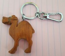 """Key chain, wood, camel, carabiner attached, 2"""" high, 1 /7/8"""" wide"""