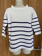 Joules Cream Purple Stripe Jumper Size 10