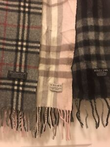 3 Vintage Burberrys Scarfs Black Grey And Pink Check Lambswool Authentic