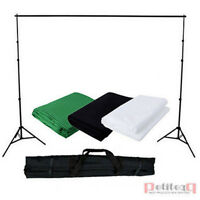 Photo Studio Support Stand Kit Black White Green 3 Backdrops Background UK Local