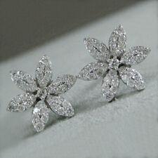 925 Silver Stud Earrings Pretty Cubic Zirconia Women Engagement Party Jewelry
