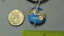 beach necklace sterling silver blue nautilus shell dichroic glass #109