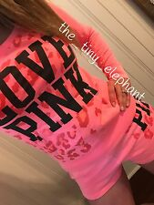 Victoria Secret Love Pink Coral Cheetah Leopard Crew Sweatshirt Sweat Shorts Set