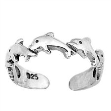 .925 Sterling Silver Classic Dolphin Summer Toe Ring New
