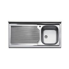 Lavello cucina appoggio acciaio inox 100 cm lavandino con gocciolatoio sinistro