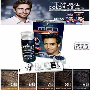 Schwarzkopf MEN PERFECT Anti Grey Hair Mens - Natural Hair Color Gel - 5 Color