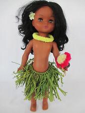 """Vintage HAWAIIAN HULA GIRL SLEEP EYES DOLL 14"""" (Hawaii grass skirt dancer toy)"""