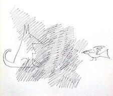 SAUL STEINBERG vintage cartoon print, 1971, Dèrriere Le Miroir 195, Maeght DLM