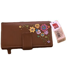 Relic Bi-Fold Wallet Brown Pebbled Faux Leather Floral Accent Front Organizer