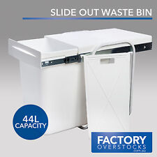 44L Slide Out Divided Waste Bin - Pull Out Concealed Kitchen Rubbish Garbage