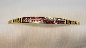 14K Solid Yellow Gold Ruby and  Diamond Bracelet