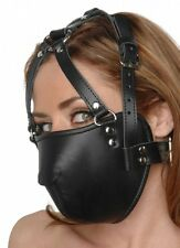 Strict Leather Face Harness Bondage Mask Kinky Black Muzzle AC334 REAL Cosplay !