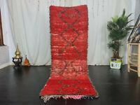 Handmade Moroccan Vintage Runner Rug 2'9x7'9 Berber Geometric Red Brown Wool Rug