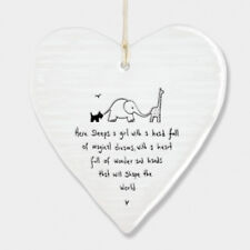 East of India Wobbly White Porcelain Heart Here Sleeps a Girl Baby Sign 10x9cm