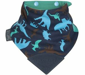 Cheeky Chompers Neckerchew Teething Bib Dino Friends Attached Silicone Teether