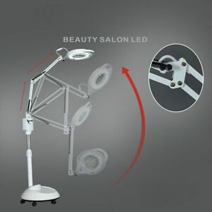 220V LED Cold Light Lamp 3X Magnifying Glass Nail Tattoo Beauty Salon Floor Lamp