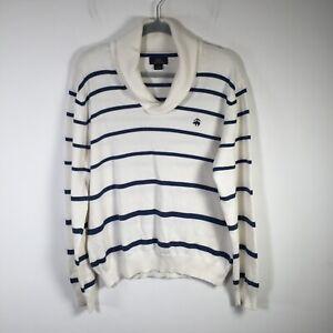 Brooks Brothers mens white striped cotton knit jumper size L shawl neck