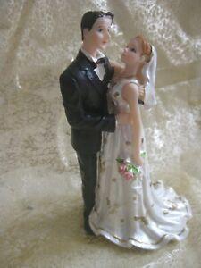Bride & Groom Cake Topper- Ivory Dress/Black Suit 15cm(H)x8cm(W)x6.5cm(D)-Resin