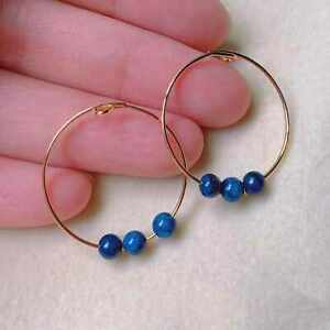 Fashion accessories aquamarine beads 18k gold Earrings gift Cultured New Year