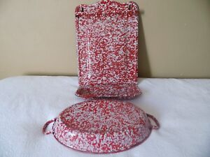 (Rare) French enamel utensil holder and casserole both (snow on the mountain)