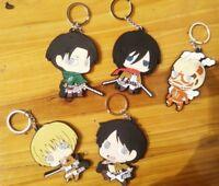 5pcs Anime Attack On Titan Silicone Key Chain Key Ring Eren Rubber Keyring