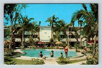 Ormond Beach FL, Ormond Biltmore Apartments, Pool, Chrome Florida Postcard