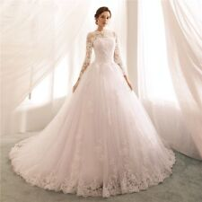 2019 Princess Long Sleeve Lace Wedding Dresses Boat Neck Ball Gown Bridal Gowns