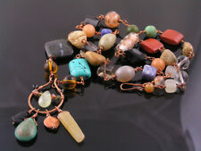 Bohemian Necklace with Glass and Gemstone Beads, Handmade, Solid Copper