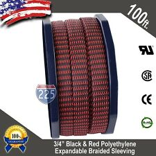 """100 FT 3/4"""" Black Red Expandable Wire Sleeving Sheathing Braided Loom Tubing US"""