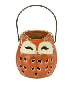 Halloween Fox Animal Tea Light Holder Jar Cut Out Ceramic Orange with Handle