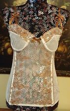 ELEGANT MOMENTS CORSET BUSTIER SZ M 36C NWT WHITE SHEER MESH BEIGE EMBROIDERY