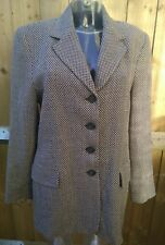 Libra Womens Designer Pure New Wool Beige Black Blazer Jacket Coat Size UK 12