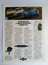 1975 VETTE ORIGINAL GM ADVERTISING - INTRODUCING THE MORE EFFICIENT CORVETTE