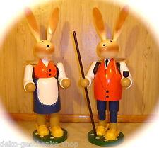 Enorme Conejo de Pascua Par Con Canasto 70cm MADERA escaparte Decoración 25030