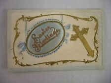 VINTAGE EMBOSSED EASTER POSTCARD CLOTH INSET W/CROSS HEAVY EMBOSSING UNMAILED