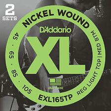 D'ADDARIO EXL165TP NICKEL BASS STRINGS - 2 PACK, MEDIUM GAUGE 4's - 45-105