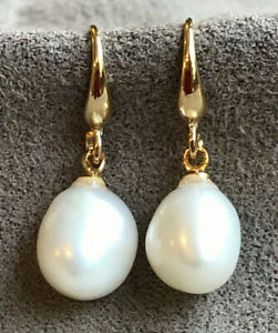 South Sea Natural White Baroque Pearl Earrings 12-10mm 18K Gold Platted
