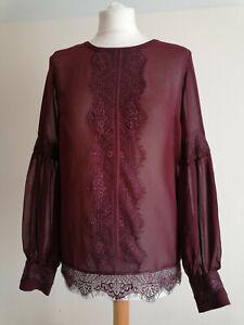 Rosemunde Copenhagen Burgundy Chiffon Lace Blouse Size 36 UK 10
