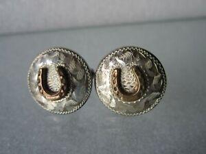 Vintage Southwest Navajo Solid Sterling Silver Horseshoe Lucky Design Cufflinks