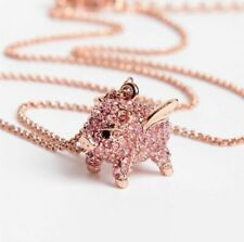 KATE SPADE NEW YORK Imagination Pave Pink Pig PENDANT NECKLACE NWT
